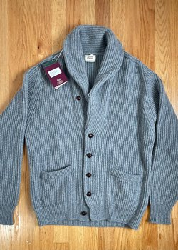 Brand New William Lockie 100% Cashmere Shawl Cardigan 4 Ply Flannel Colour Size 44