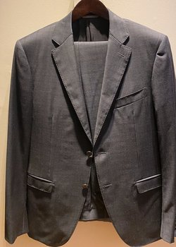 Recent Canali Navy Check Water Wrinkle Resistant Travel Suit Eu52R Drop 8 US42R