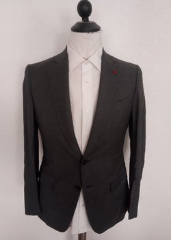 NWT Recent ISAIA Napoli Grey Solid Suit EU46R US36R RRP: $ 3999
