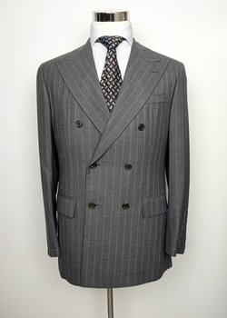 NWT SAINT ANDREWS GRAY STRIPE DB FLANNEL SUIT EU50