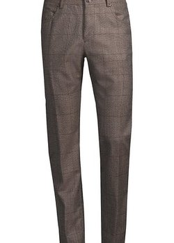 NWOT CORNELIANI 5-POCKET BROWN PLAID VIRGIN WOOL PANTS SIZE 36 ITALY