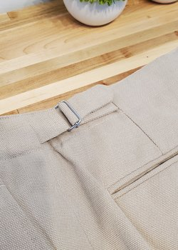 Stoffa Basket-weave Washable Cotton Trousers in Sand