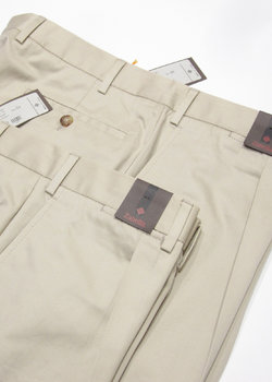 "N°2 pairs of BNWT Zanella Pleated Khaki Cotton Chinos Pants ""Nick"" Fit - Size 54 and 56"