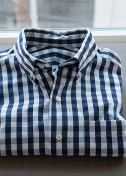 LUXIRE - Ultimate Navy Gingham Oxford - S
