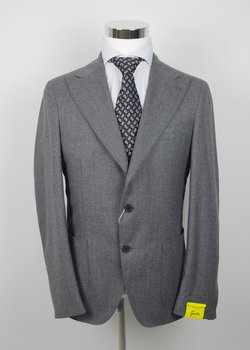 PRICE DROP! NWT GABO NAPOLI Solid Mid Gray Flannel Suit US44 42/EU54