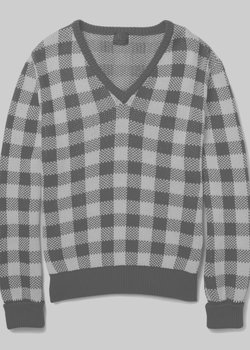 MP MASSIMO PIOMBO Checked Chunky Cotton V-Neck Sweater Red IT50/M-L