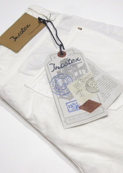 "N°4 pairs of BNWT INCOTEX Cinquetasche ""Sky Slim"" White Cotton/Linen Jeans - Size 32/33/34/35"