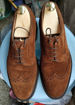 Mint! Edward Green 202E last UK5.5 US 6 suede brogues wingtips with storm welt and dainite soles