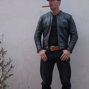 Aero Cafe' Racer in Black Front Quarter Horsehide!  Great looking leather jacket!