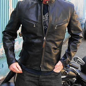 Aero Fontana Cafe' Racer in Black Front Quarter Horsehide...beautiful leather jacket!