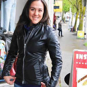 Cool vintage cafe racer leather jacket!