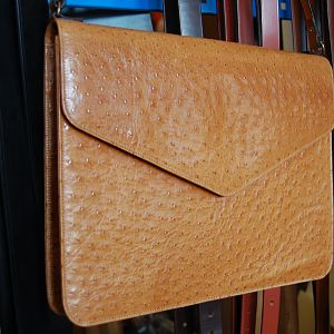 A 'mock' ostrich folio, suede lined with shoulder strap, machine stitched.