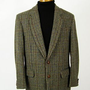 Green / blue / rust Harris Tweed jacket.