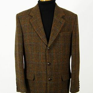 Brown check wool Harris Tweed jacket.