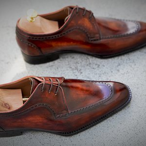 3eye derby patina on dupuy crust leather