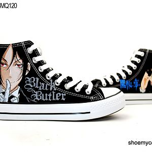 Black Butler Hand Painted High Top Cartoon Canvas Shoes