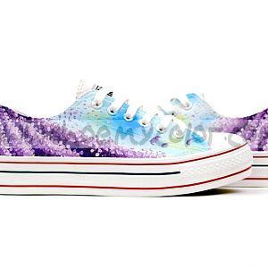 Provence Lavender Themed Hand Painted Platform Sneakers