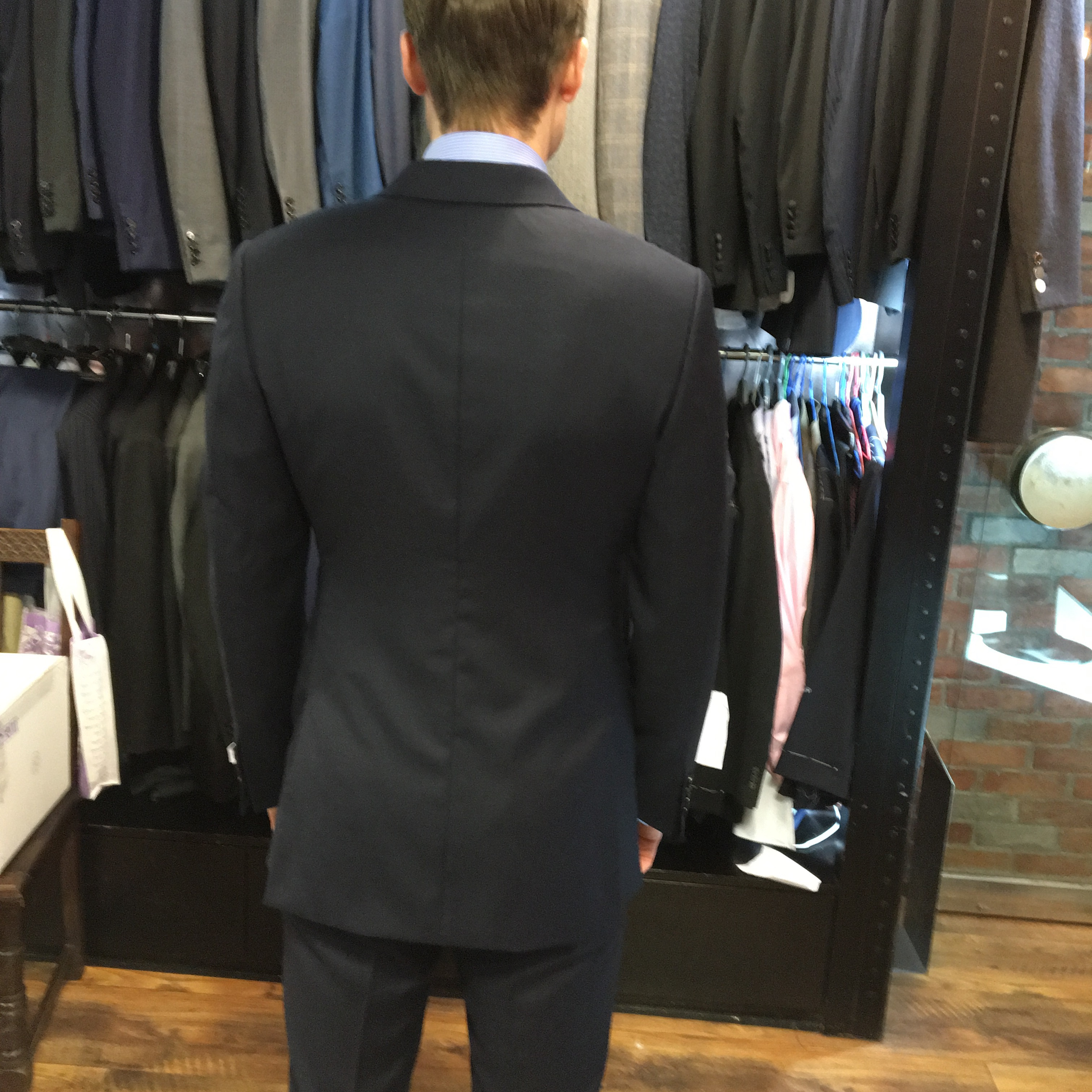MTM suit jacket: bunching near seam at lower back