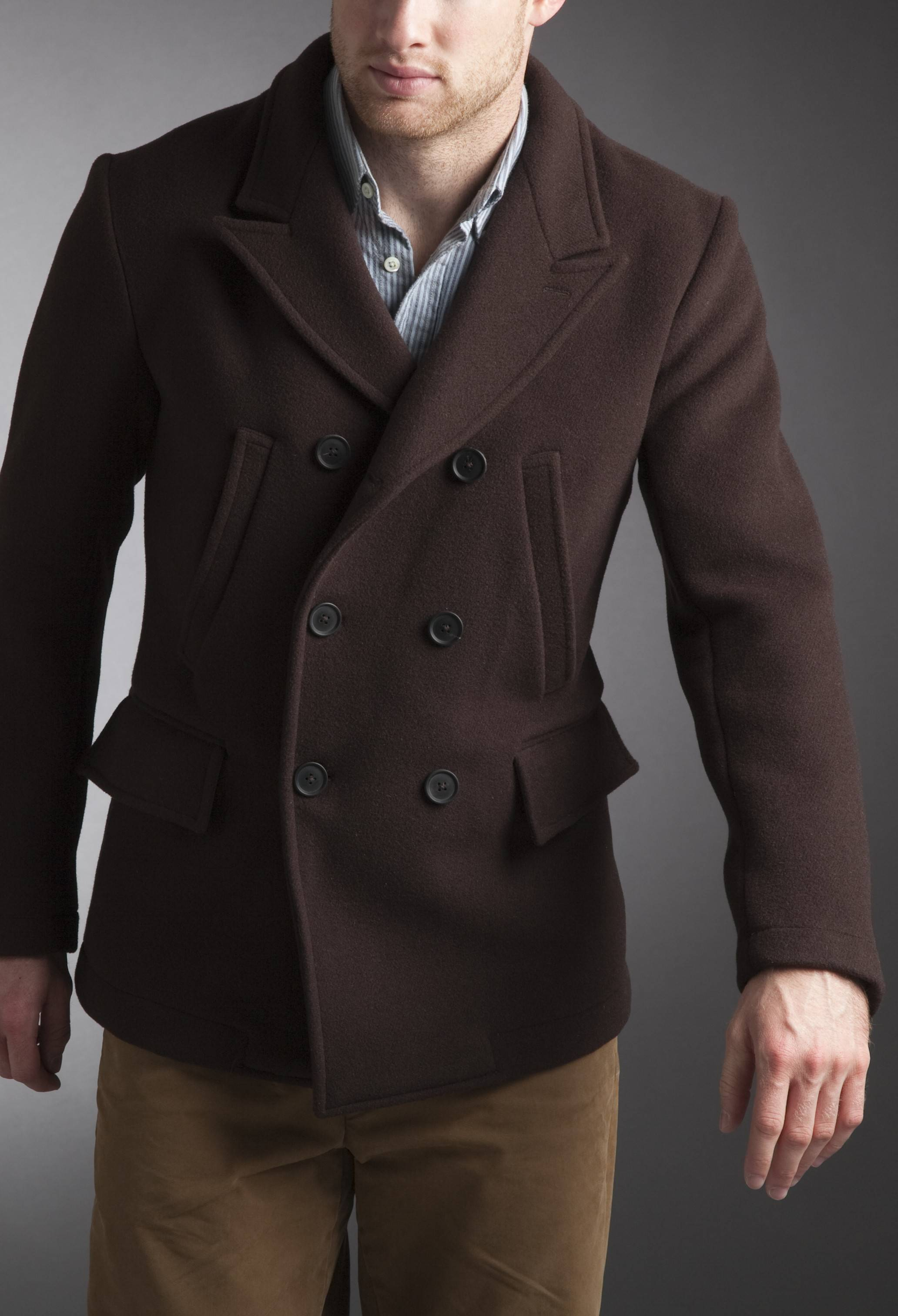 Images of Brown Pea Coat Mens - Reikian