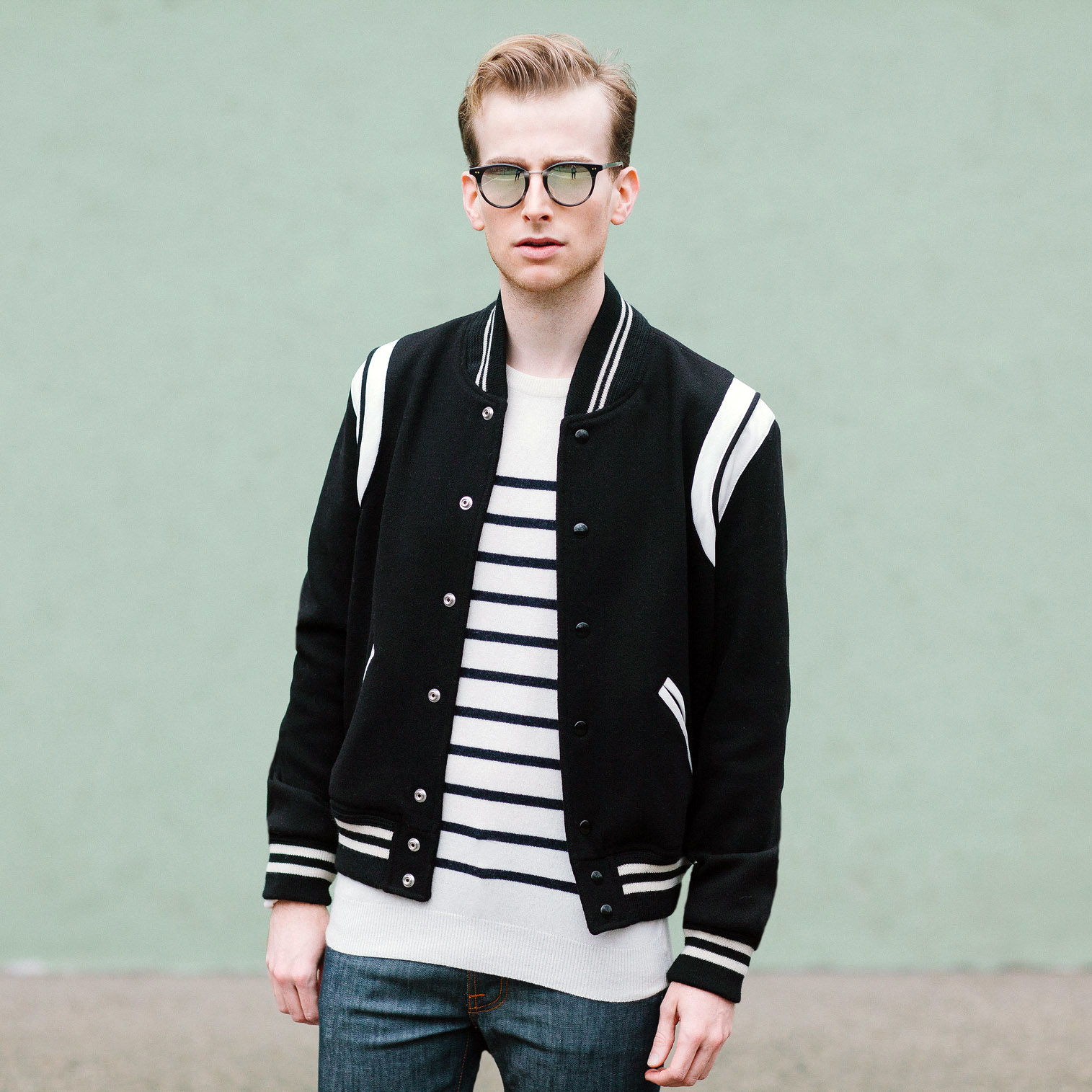 blogger with saint laurent teddy jacket