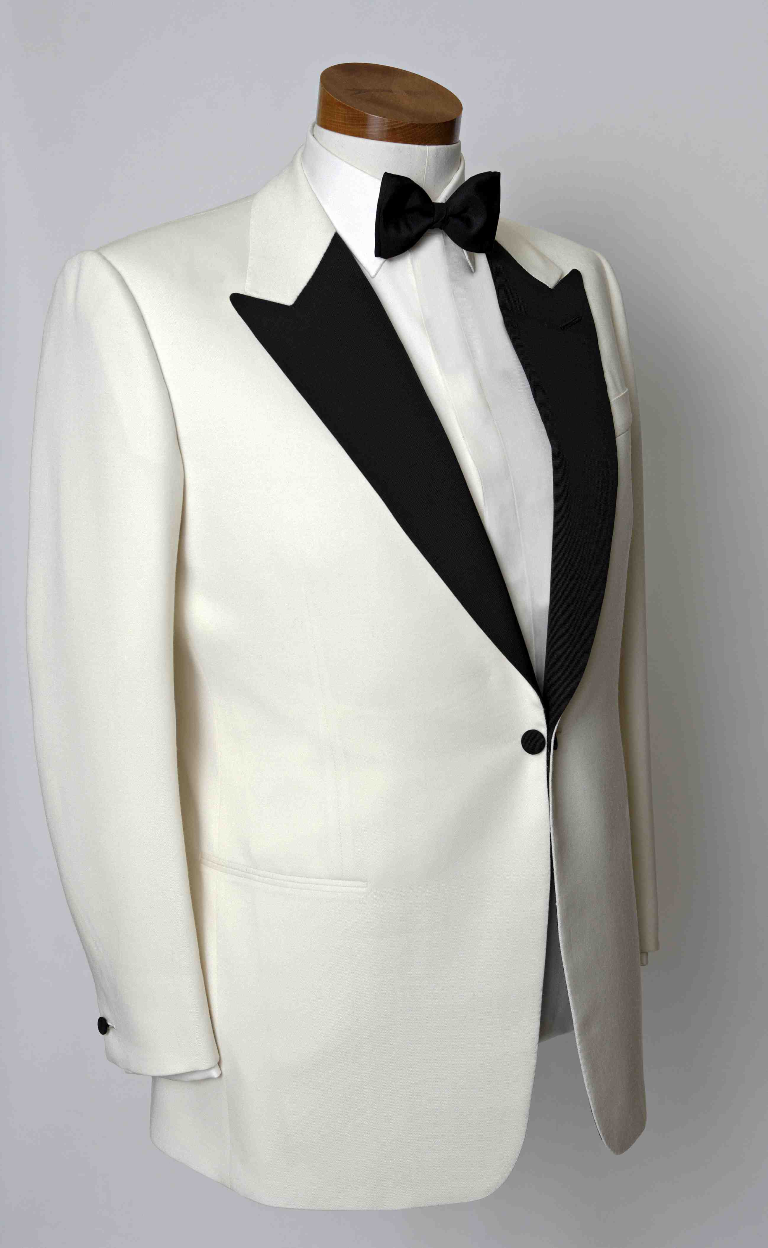 SB white tuxedo, example of bespoke tailoring by Dege & Skinner of Savile Row, London